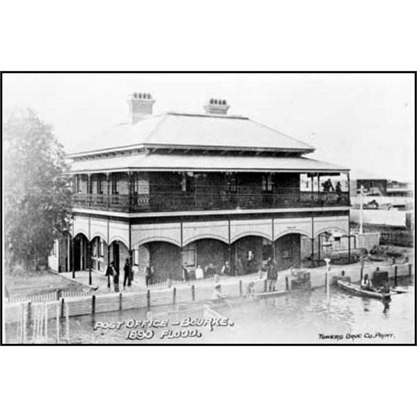 Bourke Post Office in flood 1890
