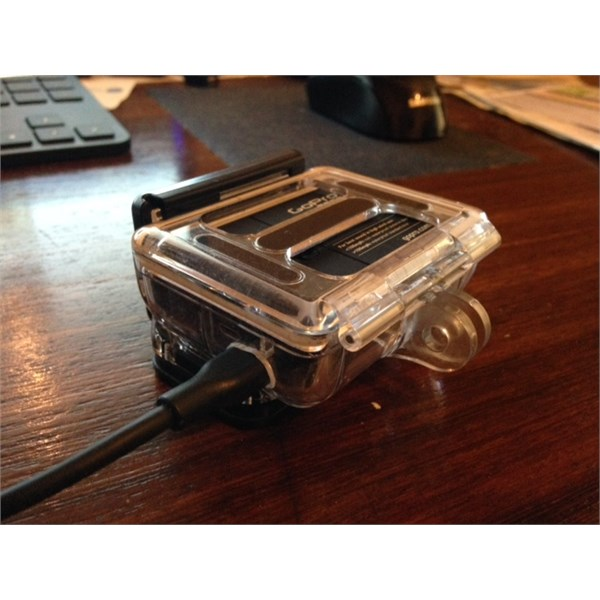 GoPro case with hole made for power lead