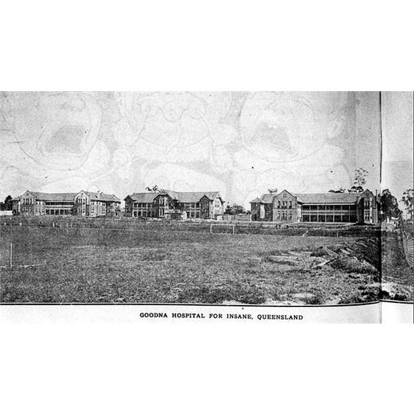 Goodna Woogaroo Asylum 1919, showing football field in the foreground