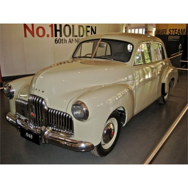 The first Holden 48-215 sedan off the production line. in Gawler Cream