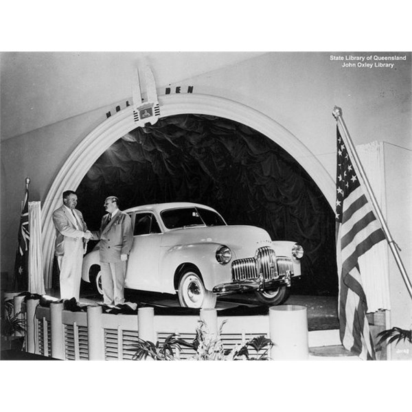 Queensland launch of the Holden 48-215 at Eagers Motors, Brisbane, 1948