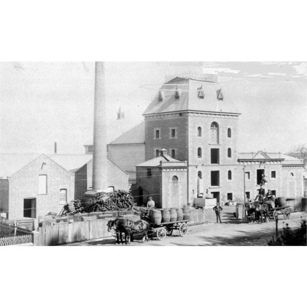 Exterior view of the Old Swan Brewery in 1897.