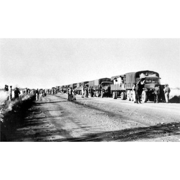 Chemical weapons being trucked to the newly established chemical depot at 88 mile (near Adelaide River NT) in 1944