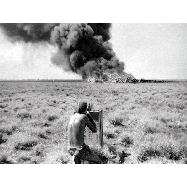 Firing incendaries into a chemical weapons burnoff at Tamoi after the war