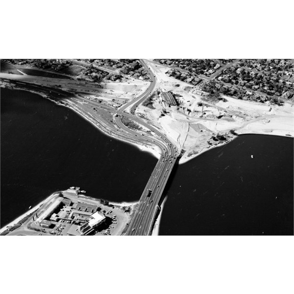 Canning Bridge during the construction of the interchange