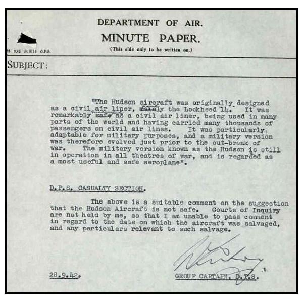 Lockheed Hudson Safety Report
