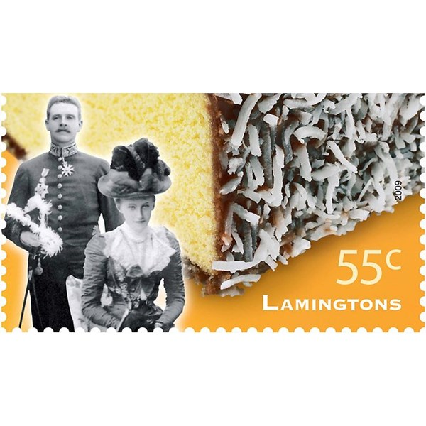 Australia Post stamp featuring Lord and Lady Lamington and a lamington, named in their honour.