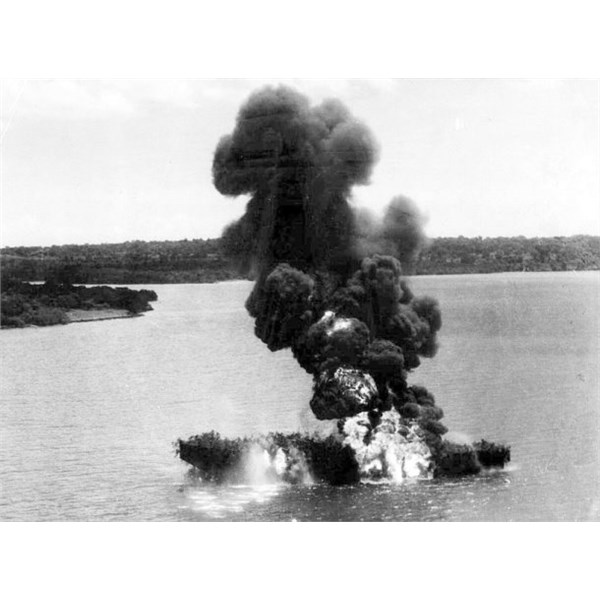 RAAF, South-West Pacific, Apr 1944. attack photo of Japanese oil tanker off Tenau, Timor. Attacked by Beaufighters
