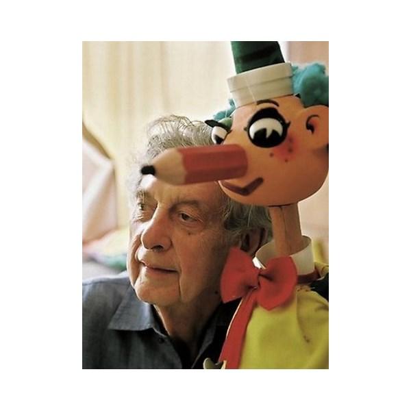 Popular character Mr Squiggle with his creator Norman Hetherington