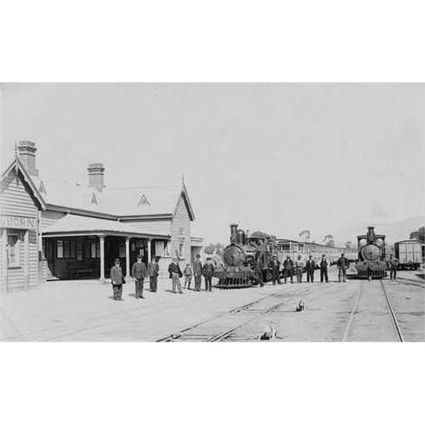 Two trains in front of the old Quorn railway station building, ca. 1910