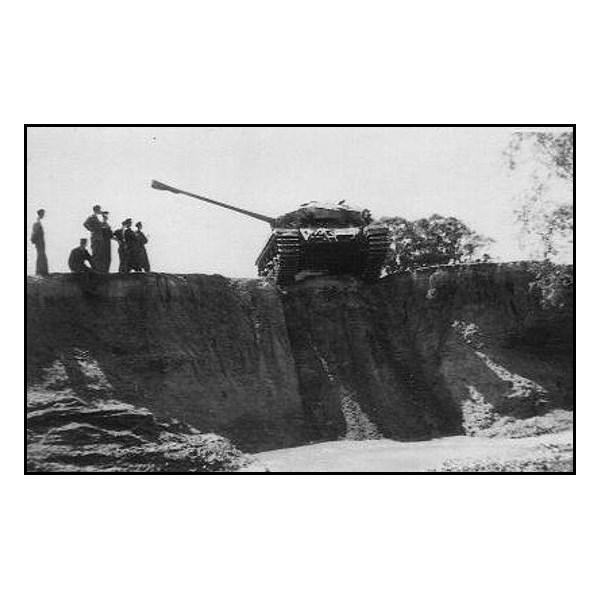 Centurion facing a vertical drop at Puckapunyal 1956.