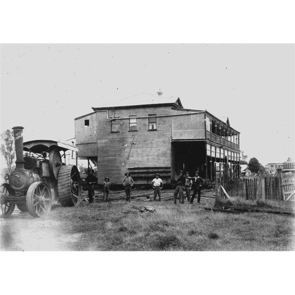 Commercial Hotel, Clermont, being winched to higher ground after the 1916 flood