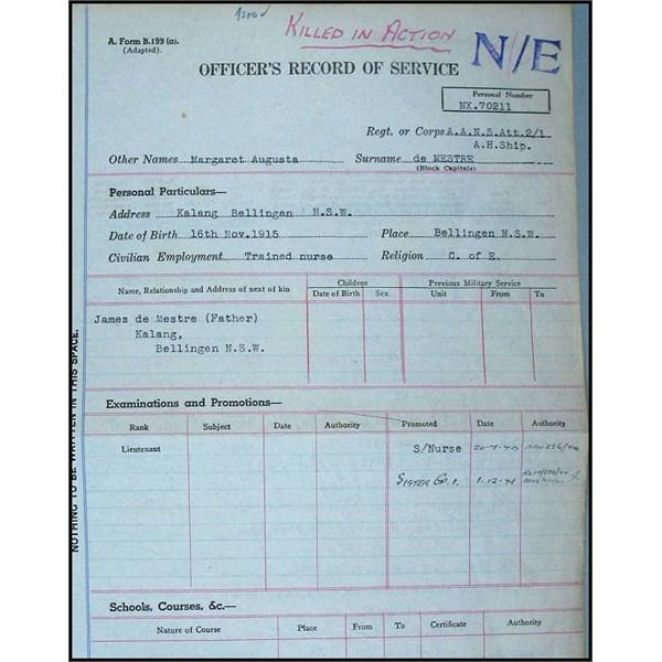 Record of Service K.I.A.