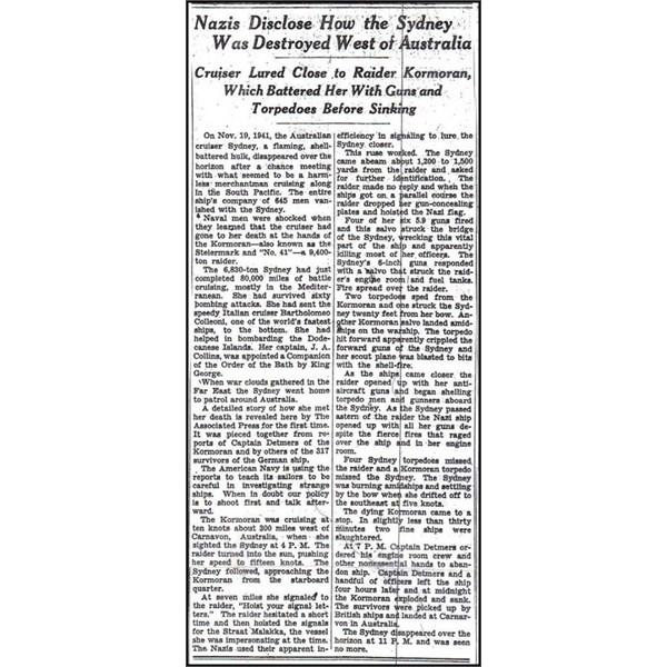 HMAS Sydney - New York Times, March 2nd 1943