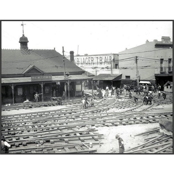 Relaying tracks in Newtown 1927
