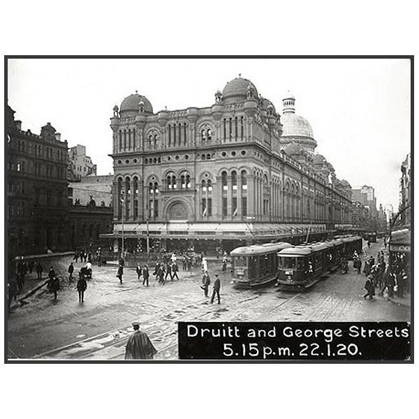 Trams on George Street, 1920