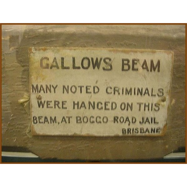 Plaque on gallows beam used at Boggo Road Gaol