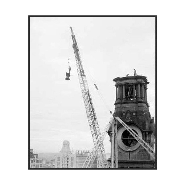 tower demolition, removal of quarter chime bells