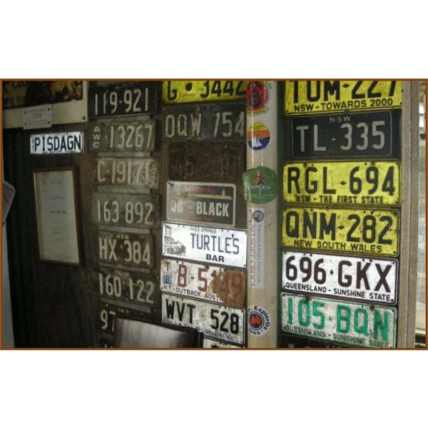 Old Licence Plates at Grove Hill Hotel
