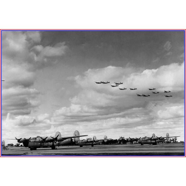 Formation of B-24 Liberators doing a flypast at Tocumwal