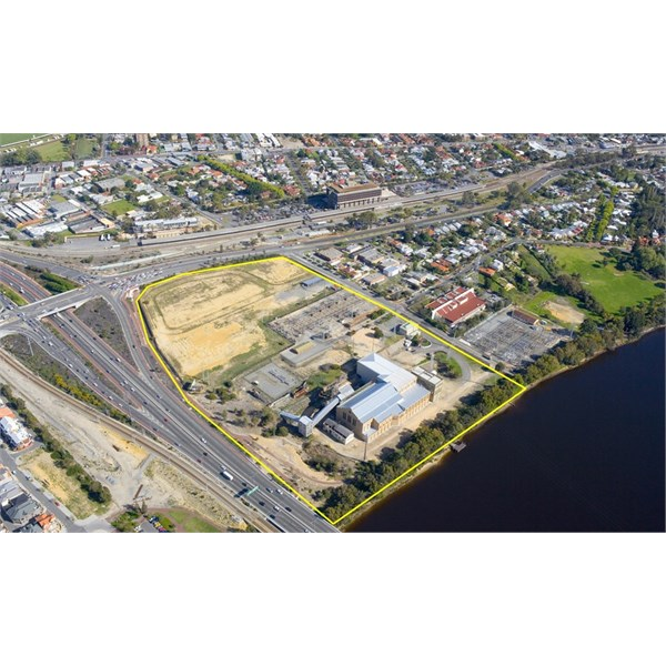 Aerial showing East Perth Power Station project site