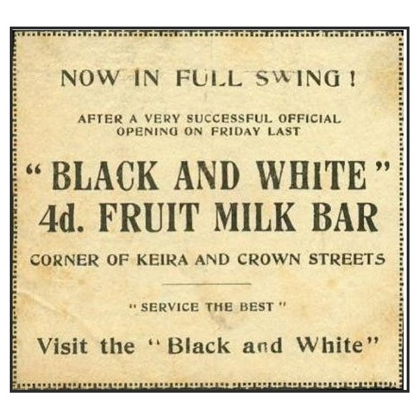 Black and White Milk Bar Opening Notice