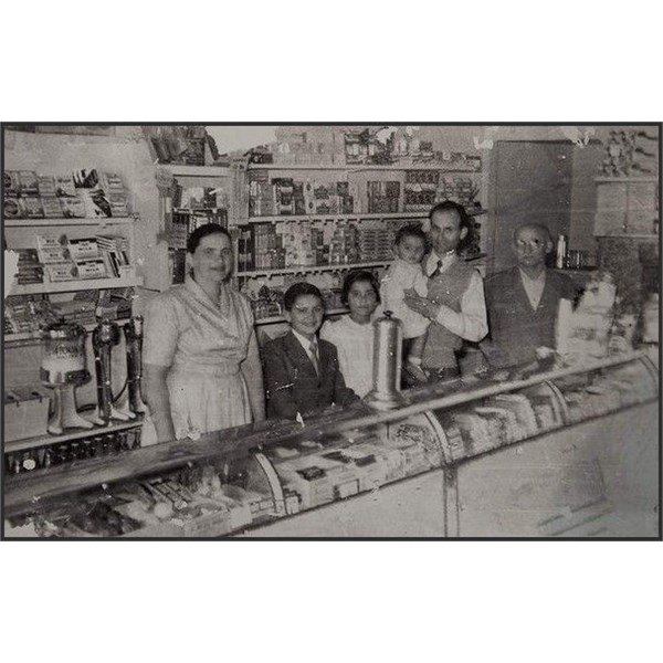 George Poulos, second from right, owner of the Rio milk bar in Summer Hill