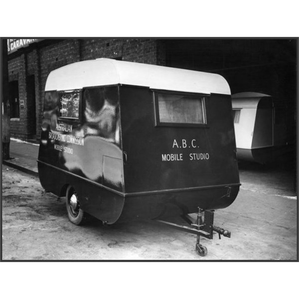 Caravan adapted as an ABC mobile studio to be used for concerts presented by the ABC at army camps and other locations