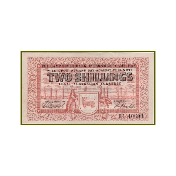 The Camp 7 Hay Internment Camp 2 Shilling note
