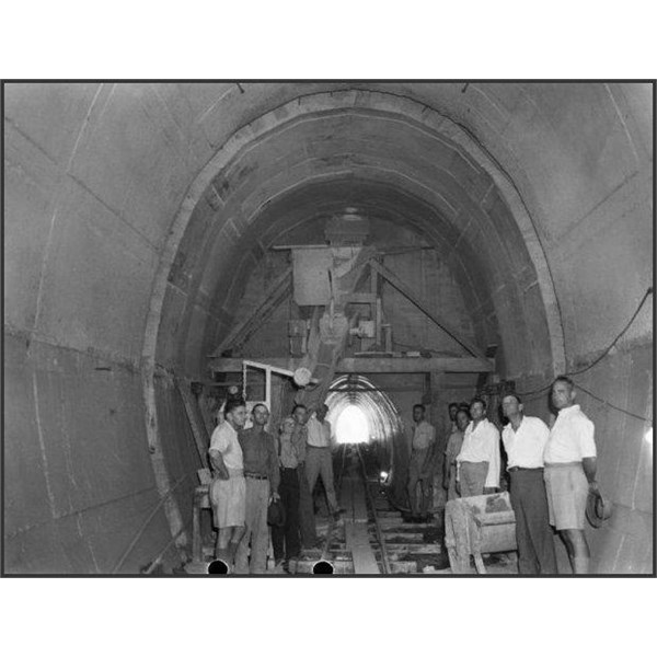 A delegation inspecting tunnelling works at the site