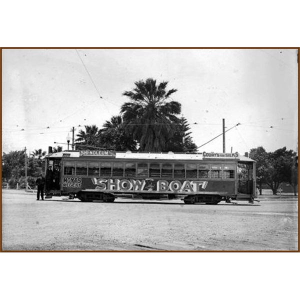 Perth tram with advertisement for Show Boat, showing at the Hoyts Regent, 1929