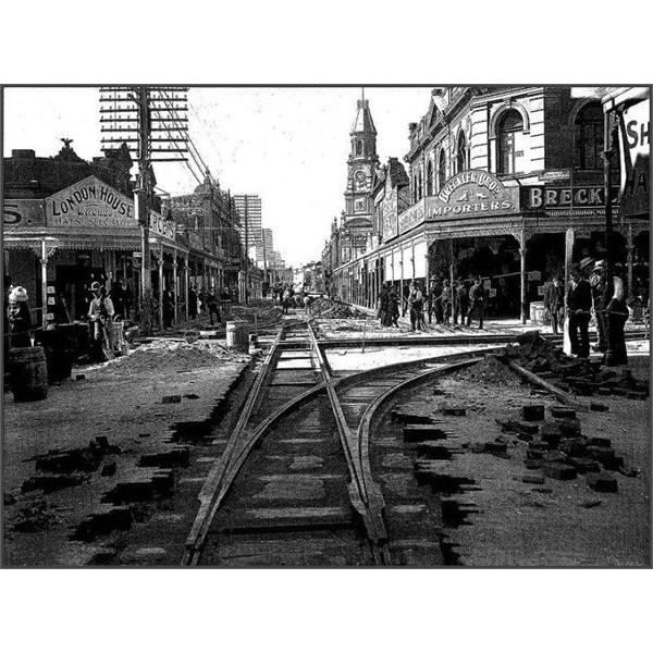 tramlines being laid in Fremantle, Western Australia, in 1905