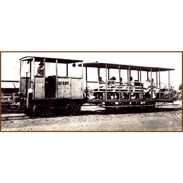 Passengers on the Derby tram after the retirement of the horses.