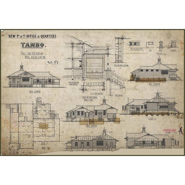 Tambo New Post and Telegraph Office - Elevations 1924