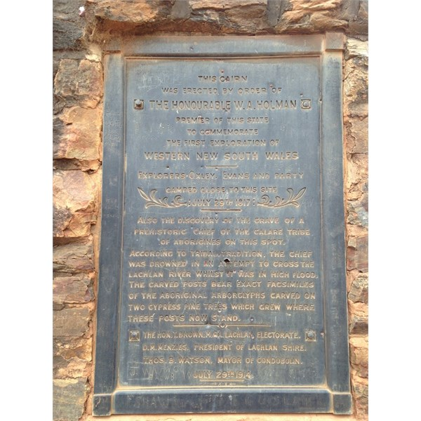 Oxley and Evans memorial and ancient Aboriginal site near Condobolin NSW