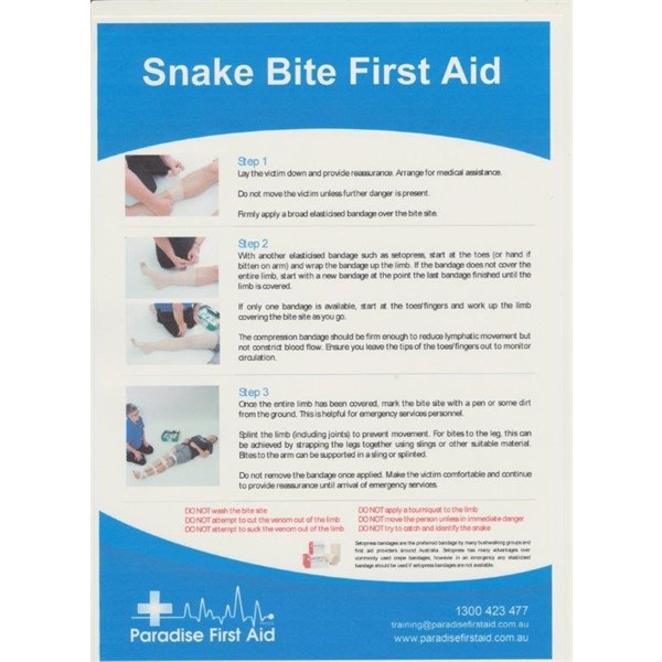 Snake Bite First Aid Poster