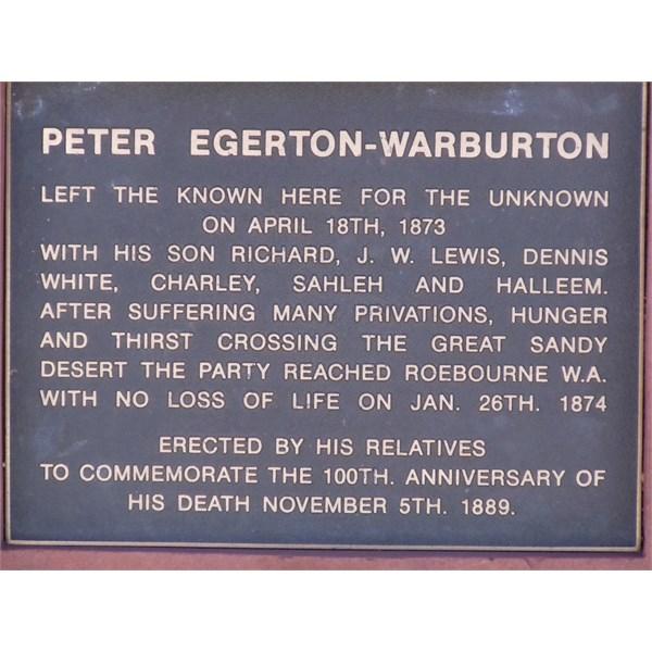 Warburton Plaque. On Stuart H'way near Plenty H'way Turnoff