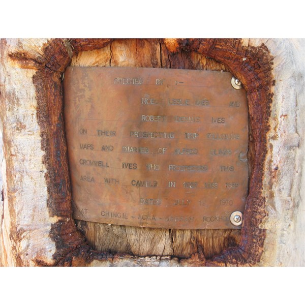 Wild West Ives plaque erected by his sons at Rudall River
