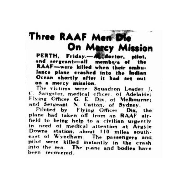 Three RAAF Men Die On Mercy Mission 2 September 1944