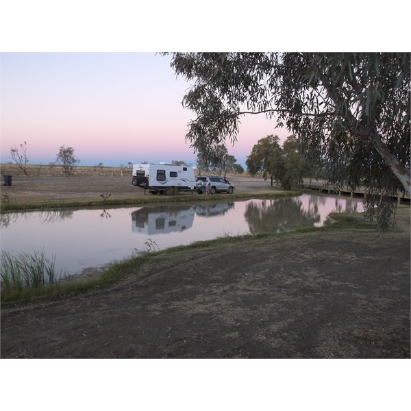 Moon rising over the water at Julia Creek free campsite