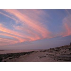 Sunset colours over shellgrit rocks
