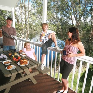 Villa accommodation with private balcony at Kirra Beach Tourist Park, Gold Coast