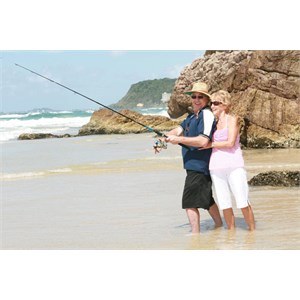Fantastic beach fishing at Ocean Beach Tourist Park, Gold Coast