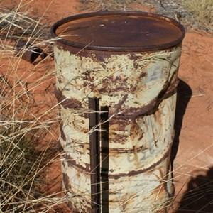 Aub's bore covered by 44 Gallon drum
