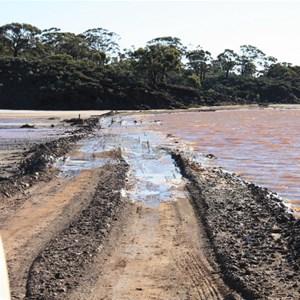 Gravel causeway over salt lake