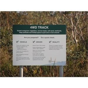 Hamersley Beach Track Warning Sign