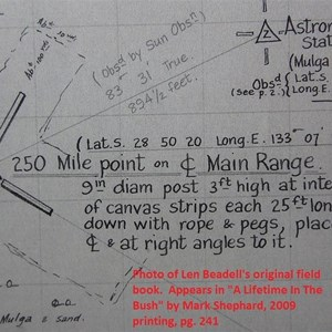 Info about the 250-mile centreline point, from Len's field book