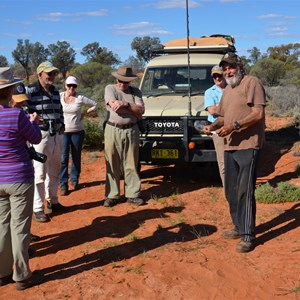 Part of the Maralinga Mystery Tour 2013 group at the Old Sign