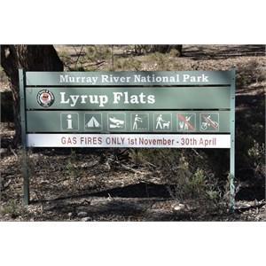 Murray River National Park - Lyrup Flats Boundary Sign
