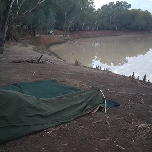 Camping beside the Darling River at Mays Bend